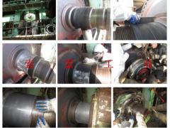 云南索雷工业现场修复纸机压榨辊轴承位磨损